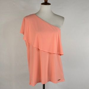 Michael Kors Peach One Shoulder Top, Size XL